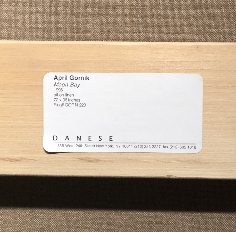 Danese label verso on Moon Bay 1996 oil painting by April Gornik.