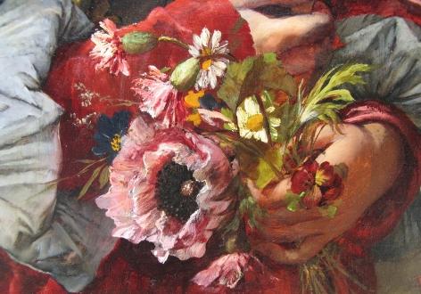 "Detail of ""Girl in Elegant Dress"" by Ferdinand Wagner."
