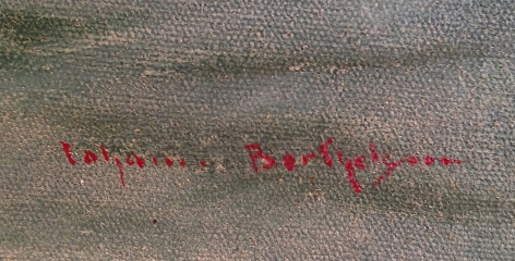 "Signature on ""Bridge Nocturne"" by Johann Berthelsen."