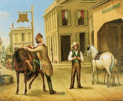 "Otis Bullard painting entitled ""Horse Trade Scene""."