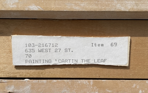 """Label verso on """"Cartin' the Leaf"""" by Paul Sample."""