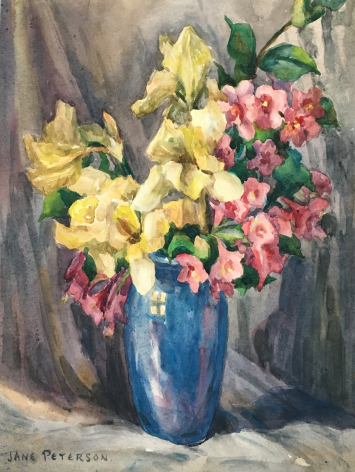 """Watercolor by Jane Peterson entitled """"Irises and Weigela in Blue Vase""""."""