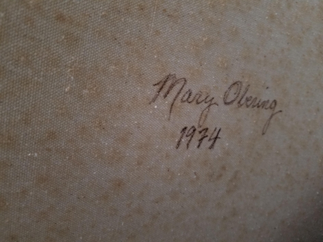 Signature verso on The Great Plains by Mary Obering.