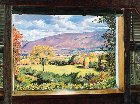 """Sold oil painting entitled """"From a Picture Window"""" by Robert Strong Woodward."""