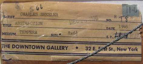 The Downtown Gallery label verso on 1948 Abstraction by Charles Sheeler.