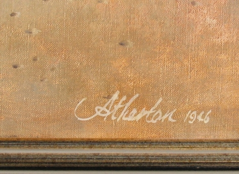 """Signature on """"Aged Form"""" by John Atherton."""