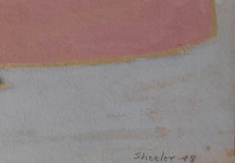 Signature and date of 1948 Abstraction by Charles Sheeler.