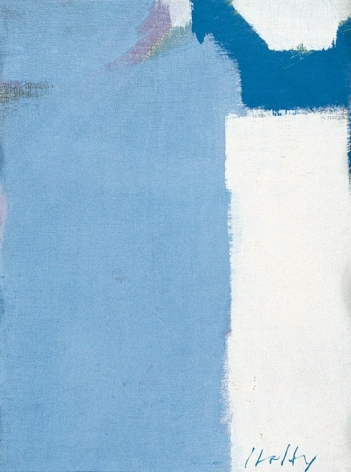 "Carl Holty 1972 abstract painting titled ""White & Blue."""