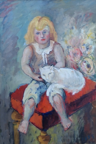 """""""Girl with Cat"""" painting by Hans Burkhardt."""