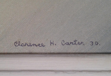 Signature on Clarence H. Carter painting Circus Scene.