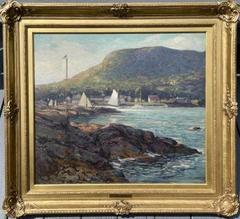 "Frame on ""The Harbor at Camden, Maine"" by Wilson Henry Irvine."