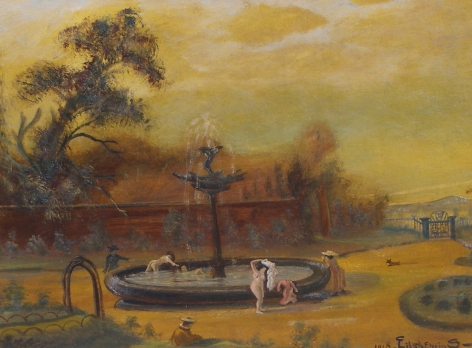"""Sold painting by Louis Eilshemius entitled """"Nude Bathers by Fountain""""."""
