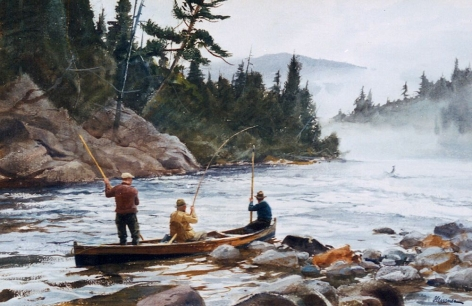 "Sold watercolor by Ogden Pleissner entitled ""A Big One Hooked""."