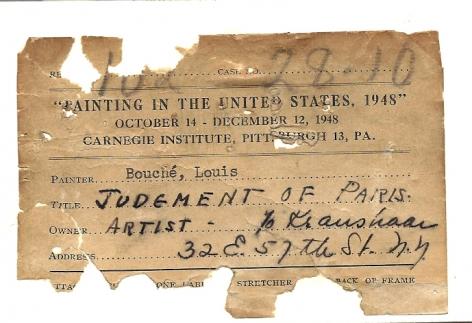 "Carnegie label verso on ""Judgement of Paris"" by Louis Bouche."