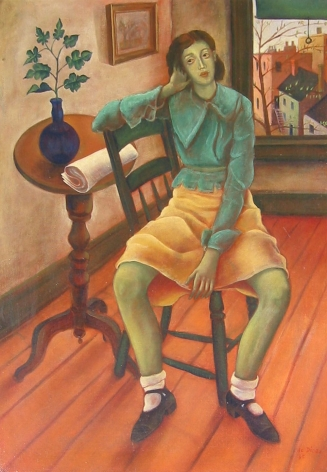 Oil painting of girl in interior by Julio De Diego.