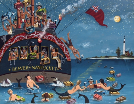 """Sold painting by Ralph Cahoon entitled """"Boston Tea Party""""."""