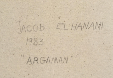 Verso signature of Argaman painting by Jacob El Hanani.