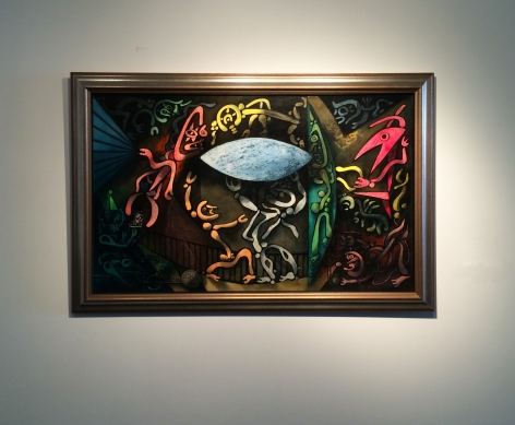 """""""Inevitable Day - Birth of the Atom"""" by Julio De Diego hanging on wall."""