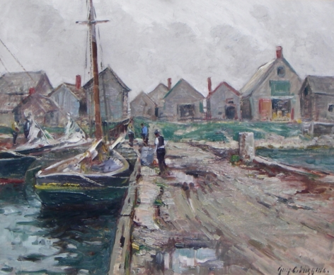 """Guy C. Wiggins oil painting entitled """"Southeaster - Rockport, MA""""."""
