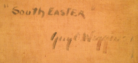 Inscription verso on SouthEaster by Guy C. Wiggins.
