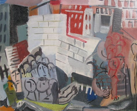"""Vaclav Vytlacil 1932 painting entitled """"City Scene with Faces""""."""