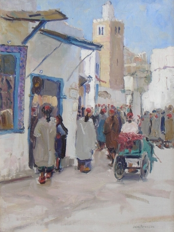 "Jane Peterson oil painting entitled ""A Busy Corner - Tunis""."