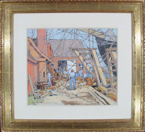 """Frame of """"At the Dry Dock, Gloucester, MA"""" by Eleanor Parke Custis."""