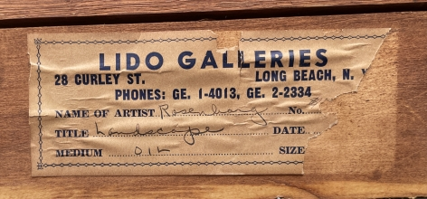 "Lido Galleries label verso on ""Subjective Farm Landscape"" by Ralph Rosenborg."