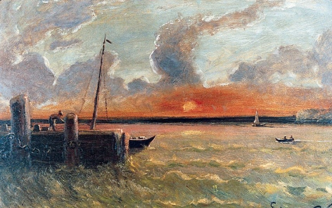 """Sold painting by Louis Elishemius entitled """"Old Ship Pier""""."""