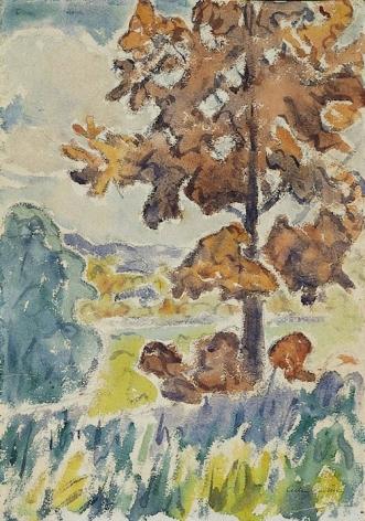 """Allen Tucker watercolor """"The Oak Tree""""."""