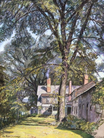 Sold pastel of three chimneys by Robert Strong Woodward.