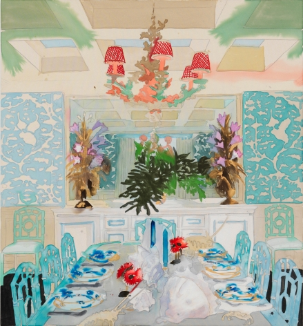 BRINTZ GALLERY, LIZ MARKUS, Celerie Dining Room, 2018, Acrylic and pencil on unprimed canvas, 60 by 55 inches, Unique Art