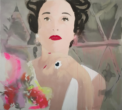 BRINTZ GALLERY, LIZ MARKUS, Babe Paley in Verdura, 2018, Acrylic and pencil on unprimed canvas, 46 by 51 inches, Unique Art