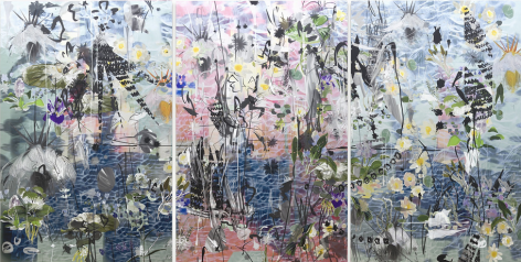 BRINTZ GALLERY, PETRA CORTRIGHT, 1080 Gameshark+codes@albaquerque!!!, 2017, Digital painting on anodized aluminum, 91 by 180 inches, Unique Art