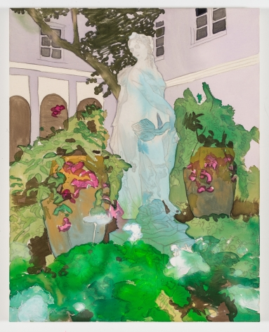 BRINTZ GALLERY, LIZ MARKUS, Palm Beach Via, 2018, Acrylic and pencil on unprimed canvas, 45 by 36 inches, Unique Art