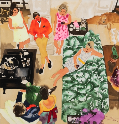 BRINTZ GALLERY, LIZ MARKUS, The Cocktail Party, 2018, Acrylic and pencil on unprimed canvas, 51 by 48 inches, Unique Art