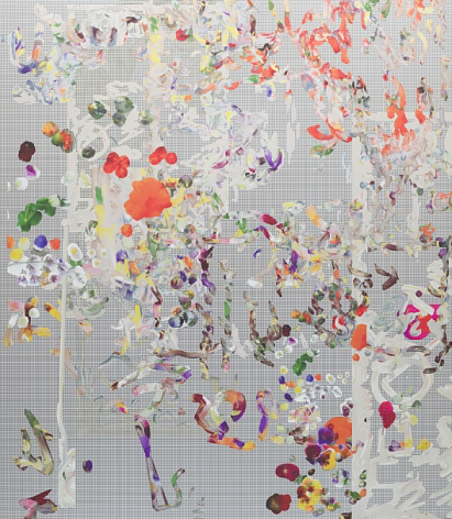 """BRINTZ GALLERY, PETRA CORTRIGHT, """"Dragonball Z,"""" stations FUHITSU (France) """"HUNTING NEBRASKA"""", 2019, Digital painting on anodized aluminum, 67 ½ by 59 inches, Unique Art"""