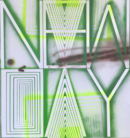 BRINTZ GALLERY, JOHN PHILLIP ABBOTT, New Day, 2017, Acrylic and spray paint on canvas, 66 by 62 inches, Unique Art