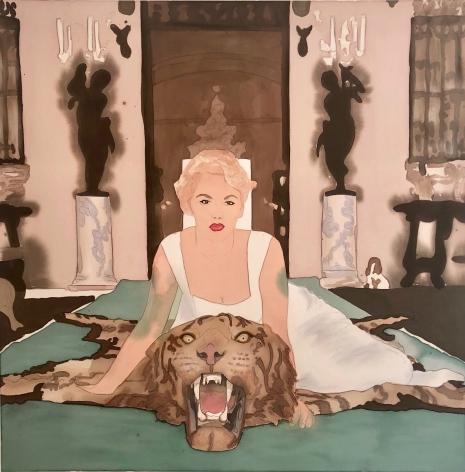 BRINTZ GALLERY, LIZ MARKUS, Daphne Cameron on Tiger Skin Rug, 2018, Acrylic and pencil on unprimed canvas, 60 by 60 inches, Unique Art