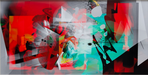 BRINTZ GALLERY, PETRA CORTRIGHT, Vertigogo take three to make a marriage, 2017, Digital painting on gloss paper, 48 by 94 inches, Unique Art
