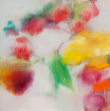 BRINTZ GALLERY, ROSS BLECKNER, Untitled, 2017, Oil on canvas, 18 by 18 inches, Flora, Unique Art