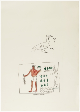 Jean-Michel Basquiat (1960-1988)  Geese+  Pastel crayon and charcoal on paper