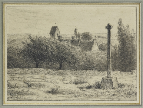 JEAN-FRANCOIS MILLET Croix près Gréville Black Conté crayon and charcoal, stumped, heightened with white chalk; with framing line