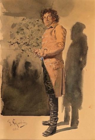 Franz Skarbina (Berlin 1849 -1910) Standing Man in Costume, 1880 Watercolor