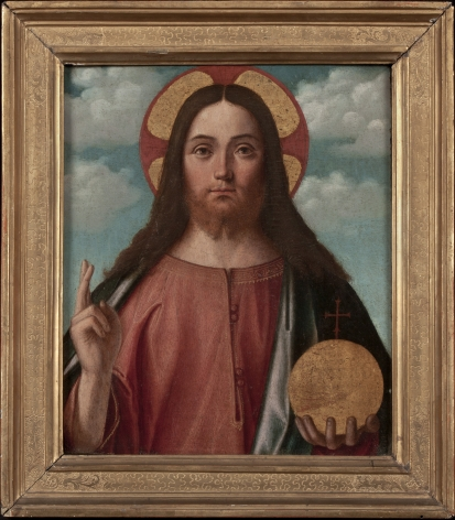 Vittore Carpaccio  (Venice, ca. 1465-70 – 1525/26)  Christ Blessing (Christ as Salvator Mundi)  Oil on pane