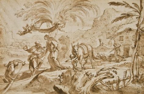 Domenico Piola (Genoa 1627 - 1703) Flight into Egypt Pen and brown ink with wash over traces of black chalk
