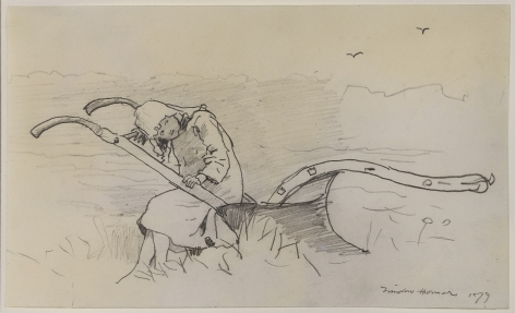 Winslow Homer (1836-1910)  Girl Sitting on a Plow, 1879  Pencil on paper