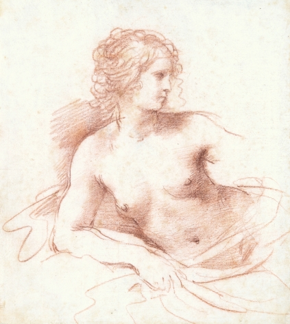 GIOVANNI FRANCESCO BARBIERI, called IL GUERCINO A Half-length Female Nude Looking to the Right, Resting her Right Arm on a Cushion Red chalk