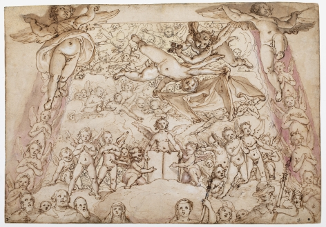 FEDERICO ZUCCARO Study for the Last Judgment in the Cupola of Santa Maria del Fiore, Florence Black chalk, pen and brown ink, brown, grey and pink wash heightened with white