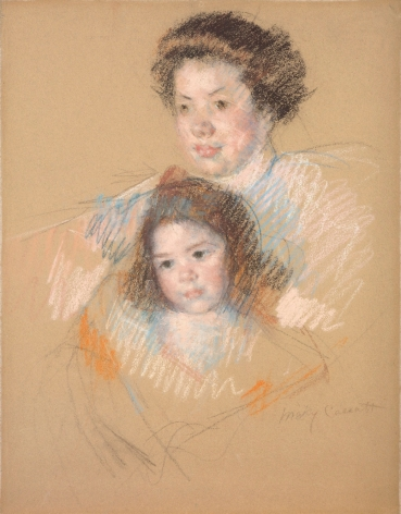 Mary Cassatt (1844 — 1926)  HEADS OF REINE AND OF MARGOT, 1903 — 04  Pastel on paper